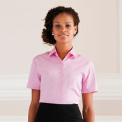 Women's short sleeve pure cotton easycare poplin shirt