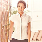 Women's cap sleeve polycotton easycare fitted poplin shirt
