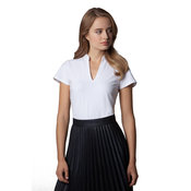 Women's corporate short sleeve top v-neck mandarin collar
