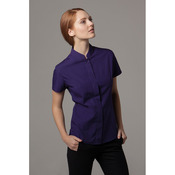 Women's mandarin collar fitted shirt short sleeved