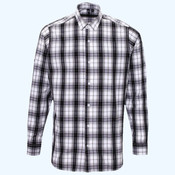 Ginmill check cotton long sleeve shirt