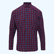 Sidehill check cotton long sleeve shirt